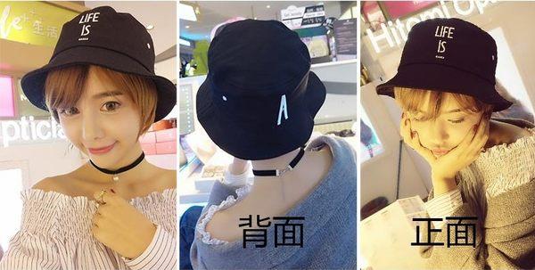 [協貿國際]韓國潮盆帽漁夫帽春夏字母可折疊防曬A字母黑色