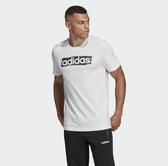 Adidas CORE LINEAR 男款白底黑LOGO短袖上衣-DV3050