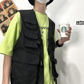 夏季男士夾克韓國ins夏季薄款戰術機能寬松暗黑工裝背心【快速出貨】