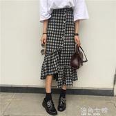 不規則格子半身裙中長款韓版春季新款復古高腰顯瘦學生長裙子 海角七號
