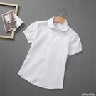 女童白襯衫短袖兒童純棉白色襯衣中大童小學生校服表演出服夏新款 格蘭小舖 全館5折起