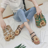 太陽花朵露趾時尚平底涼鞋舒適軟底沙灘學生女鞋兩穿 薔薇時尚
