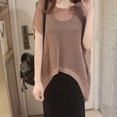 蝙蝠短袖寬鬆鏤空薄女上衣純色夏季新款胖mm大碼 JD3143【棉花糖伊人】