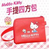 Hello Kitty 凱蒂貓 手提四方包 零錢包 三麗鷗 授權正版品【狐狸跑跑】
