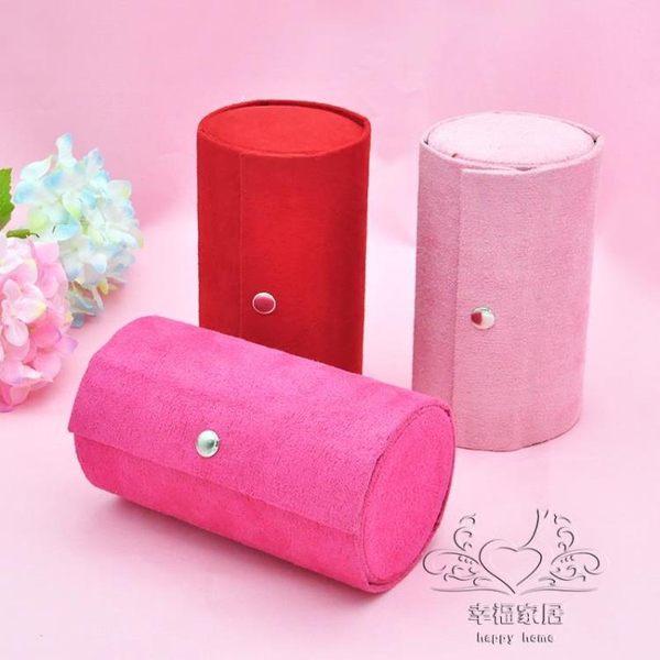 首飾盒 正韓旅行三層首飾飾品盒絨布木質可愛圓桶多層便攜帶首飾盒xw