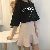 魚尾裙荷葉邊半身裙港味chic學生女新款韓版包臀A字短裙  蘑菇街小屋