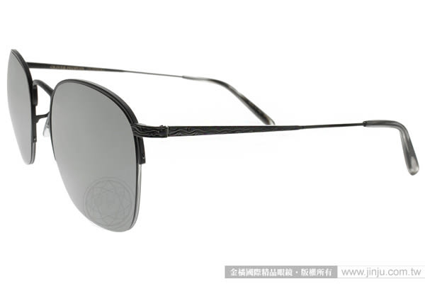 OLIVER PEOPLES 太陽眼鏡 RICKMAN 50626G (黑-灰水銀) 造型半框款 # 金橘眼鏡