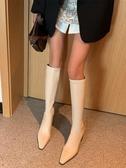 不過膝長靴秋冬高跟彈力靴瘦瘦靴米白色長筒靴高筒中筒女靴騎士靴