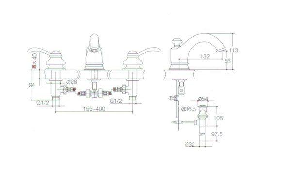 【麗室衛浴】美國KOHLER  Fairfax  三孔古典八英吋三件式面用龍頭 K-8658K-CP