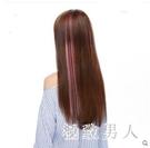假髮女彩色假髮片挑染一片式接髮片漸變隱形無痕接長直髮片 LJ8518【極致男人】
