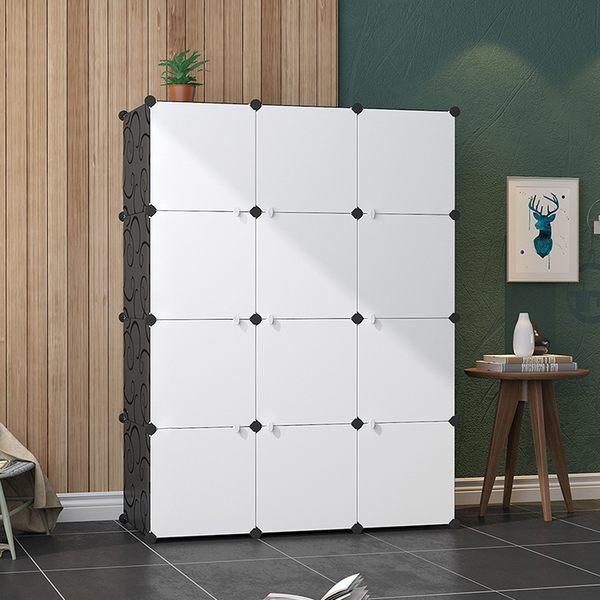 E&J【004008-01】Mr.Box 加大型12格12門收納櫃/置物櫃/書櫃(黑白款)