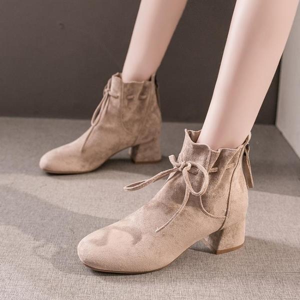 馬丁靴女2021秋冬季新款百搭英倫風粗跟高跟鞋加絨瘦瘦短靴ins潮 3C數位百貨