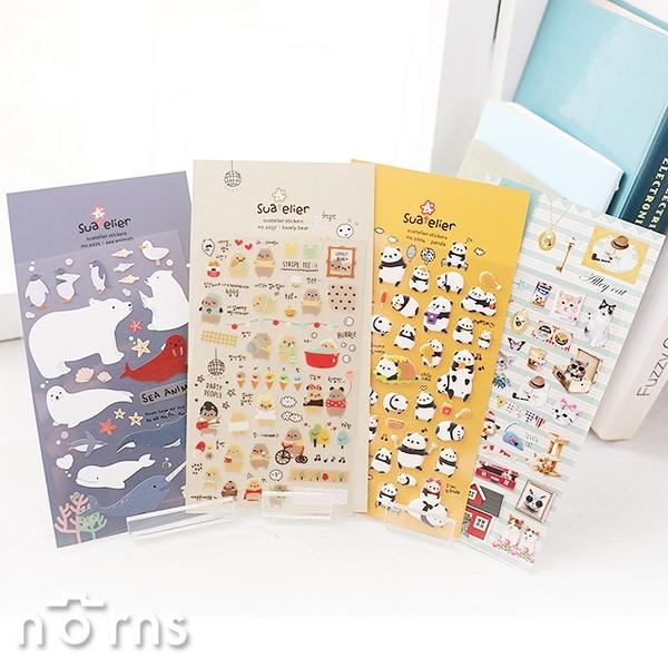 【Suatelier stickers動物系列】Norns 韓國Sonia手作 手帳貼紙文具熊貓 可愛 貓咪 兔子 拍立得照片裝飾貼