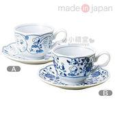 〔小禮堂〕史努比 日製陶瓷咖啡杯盤組《2款選1.白.藍唐草》精緻美濃燒.新生活系列4964412-6303_