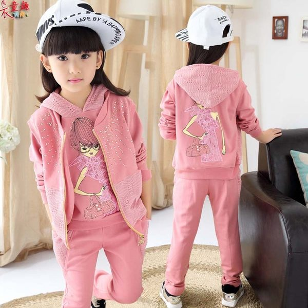 衣童趣 ♥韓版 三件 組合套裝 蕾絲 娃娃塗鴉 黏鑽長袖百搭 運動服外套+上衣+長褲
