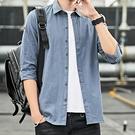 襯衫男士韓版修身個性七分袖半截袖青年拼色襯衣7分中袖五分潮流 果果輕時尚