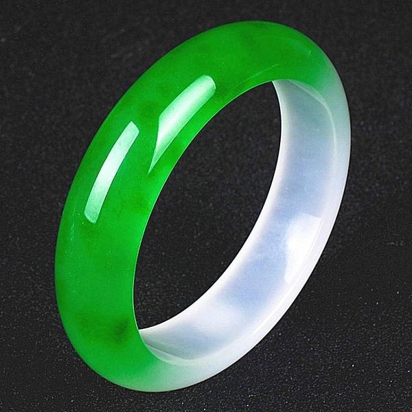 玉翡緣玉石緬甸翡翠冰種陽綠精美半綠半紫玉手鐲女款 年底清倉8折