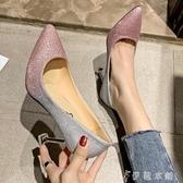 尖頭高跟鞋婚鞋女新款尖頭亮片婚紗伴娘銀色單鞋水鑽新娘細跟高跟鞋 伊鞋本鋪