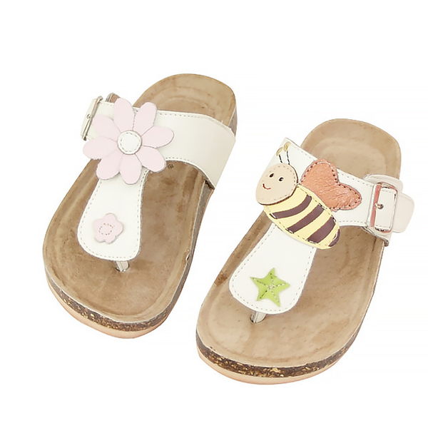 【Jingle】小蜜蜂採花蜜T字軟木涼鞋(純潔白兒童款)