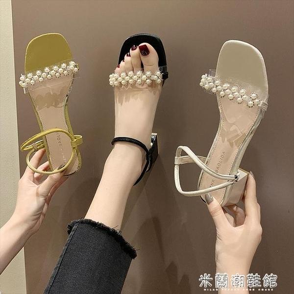 夏季新款方頭法式浪漫小香風少女中跟涼鞋一字式扣帶粗跟單鞋 618大促銷