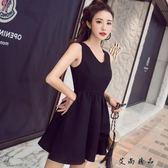 新款氣質縷空復古女小黑連身裙