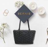 BERNIS肩背購物包-小羊皮菱格紋系列BNA18043BK