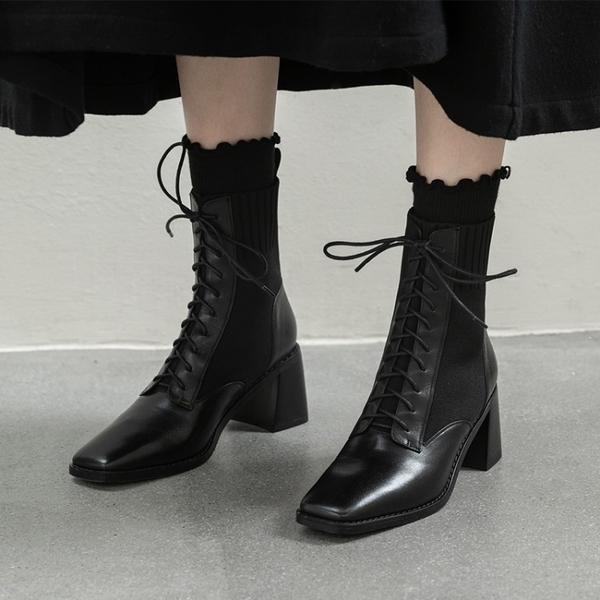 真皮女鞋34-40 2020新款帥氣百搭頭層牛皮繫帶方頭中跟馬丁靴 短靴子 ~2色