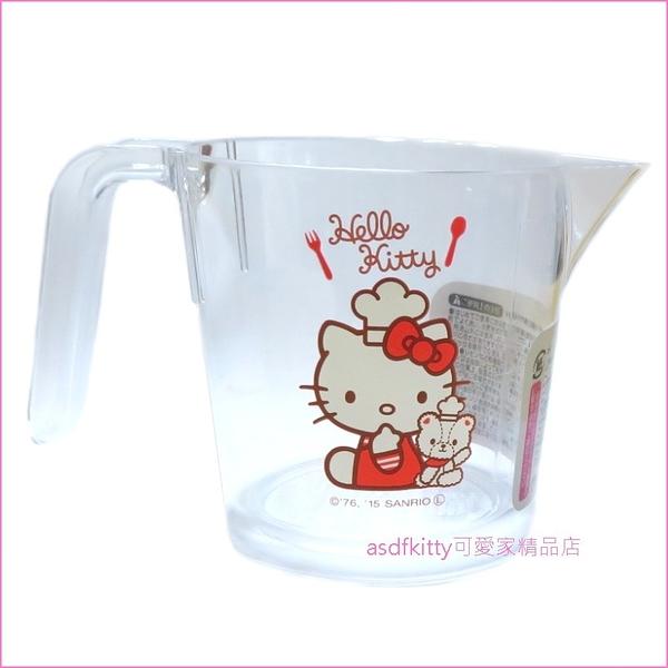 asdfkitty可愛家☆KITTY泰迪熊小廚師量杯-300ML-日本正版商品