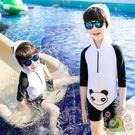 兒童泳衣男童連身可愛卡通熊貓男孩中大童度...