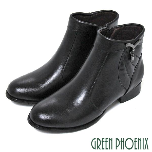 (咖66) 女款全真皮低跟短靴靴 翻領垂墜方形壓克力水鑽全真皮低跟短靴【GREEN PHOENIX】U15-20025