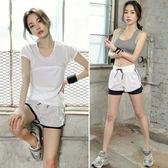 瑜珈服韓版夏季健身房運動套裝女網紗速干衣顯瘦短褲三件套  XY1637  【男人與流行】