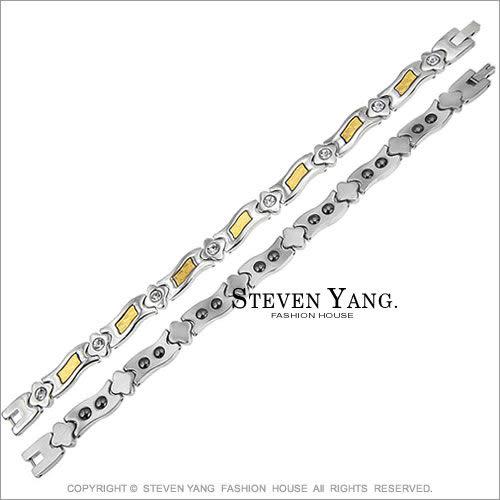 鍺手鍊STEVEN YANG西德鋼飾「黃金格紋」時尚健康 金箔 單個價格