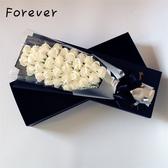花束 情人節白色玫瑰香皂花仿真干花永生禮盒裝送女友生日禮物禮品 【快速出貨】