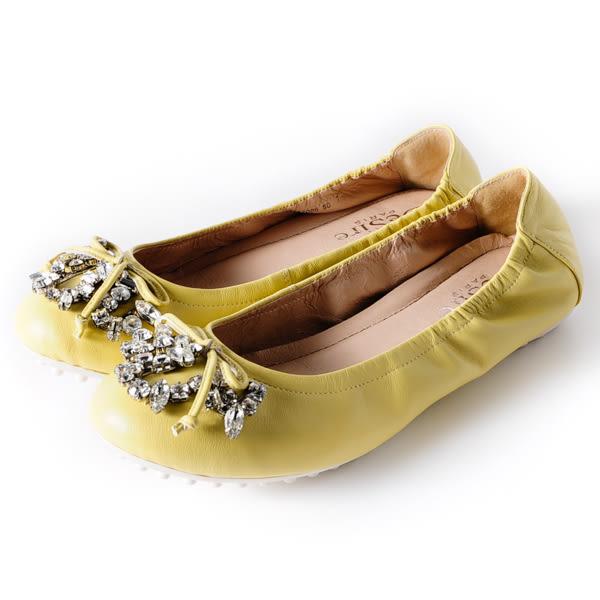 DeSire 華麗寶石蝴蝶結舒適平底娃娃鞋 -黃