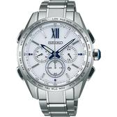 【台南 時代鐘錶 SEIKO】精工 Brightz 太陽能電波腕錶 SAGA223J@8B92-0AT0S 白/銀 43mm