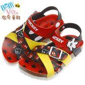 《布布童鞋》Disney迪士尼米奇紅黑雙色交織歐風兒童氣墊涼鞋(17~21公分) [ MHU812A ]