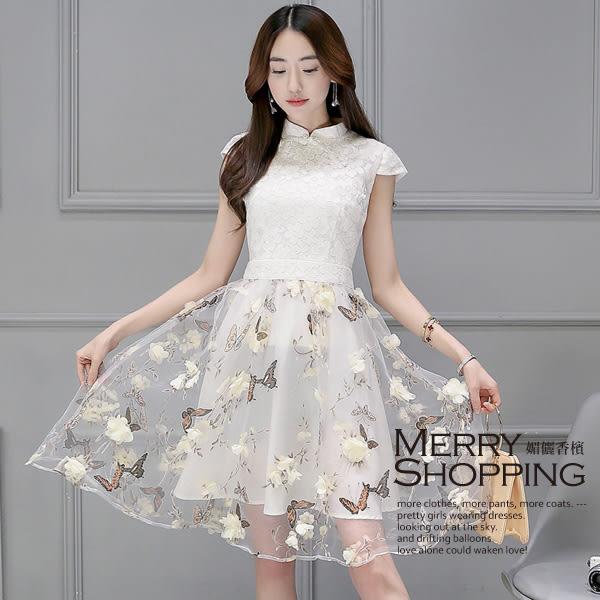 洋裝 歐根紗旗袍蕾絲連身裙 -媚儷香檳- 【D455】