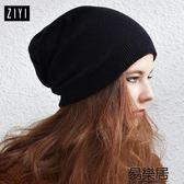 毛帽針織帽純黑色堆堆帽韓版