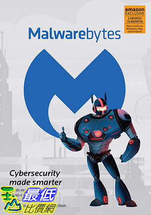 [9美國直購] Malwarebytes 4.0 Latest Version | Amazon Exclusive | 18 Months, 2 Devices (PC, Mac, Android)