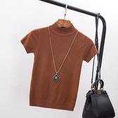 打底衫秋季新款女 韓版百搭高領純色修身T恤女短袖針織衫上衣  凱斯盾數位3C