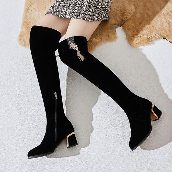 長靴 長靴女過膝粗跟高跟磨砂顯瘦冬季女靴加絨黑色性感側拉鏈長筒靴子 【免運】