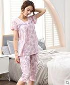 夏季中年媽媽短袖純棉寬鬆大碼睡衣套裝PLL3691【男人與流行】