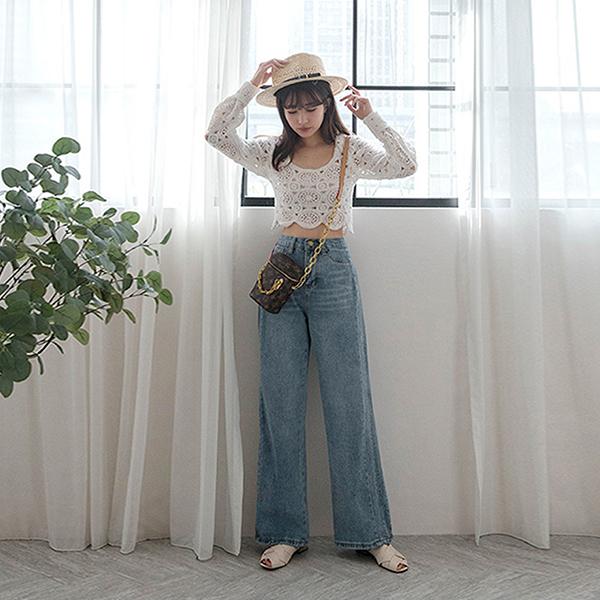 MIUSTAR 內縮式前車線直筒牛仔寬褲(共1色,S-XL)【NH0051】預購