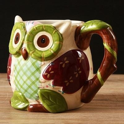 彩繪馬克杯-3D立體可愛貓頭鷹陶瓷咖啡杯72ax4【時尚巴黎】
