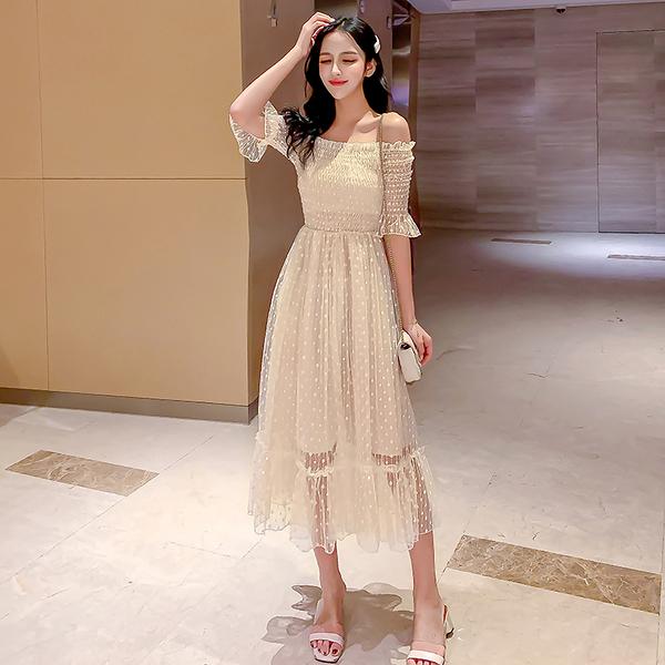 第二件5折 韓國風名媛網紗超仙甜美露肩長裙短袖洋裝