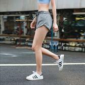 瑜珈褲(短褲)-荷葉腰邊繫帶純色女健身褲3色73ob12[時尚巴黎]