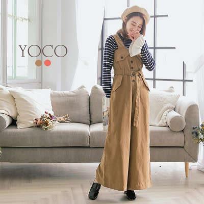 東京著衣【YOCO】韓國女孩最愛前排釦口袋連身褲-S.M.L(172435)