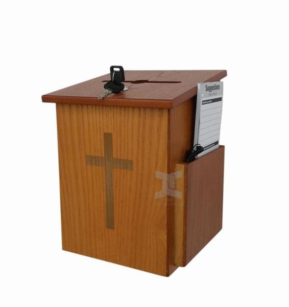 剛朵拉教堂用品主日學木質慈善捐款建議意見箱單鎖箱奉獻箱愛心箱 ATF 秋季新品