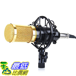 [美國直購] Floureon BM-800 黑銀兩色 錄音麥克風含麥克風架 Studio Recording Microphone + Shock Mount Holder