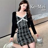克妹Ke-Mei【ZT68110】chic复古時尚腰繃帶經典格紋連身洋裝